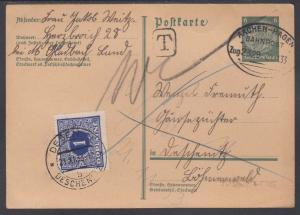 Germany Mi P218 used 1933 6pf Railway Postage Due Postal Card