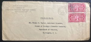 1933 Port Au Prince Haiti Financial Bureau Cover To Washington DC Usa