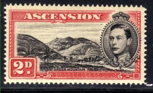 Ascension Island 1938 - 53 KGV1 2d Black & Scarlet MM SG 41c ( R609 )