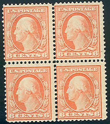 US #379 6¢ red orange, Block of 4, og, 2NH/2LH, Fresh