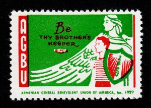 AGBU 'BE THY BROTHER'S KEEPER' ARMENIAN POSTER STAMP SEAL 1957 MNH-OG