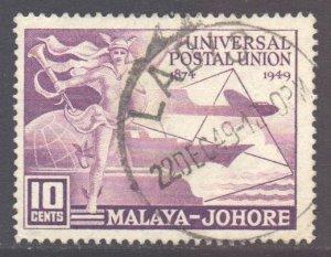 Malaya Johore Scott 151 - SG148, 1949 UPU 10c used
