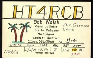 QSL QSO RADIO CARD HT4RCB, Nicaragua, Central America (Q792)