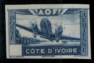 Ivory Coast 1942 SC C9 Var / Yvt 13a MNH Impert / Val Ommitted SCV $65.00
