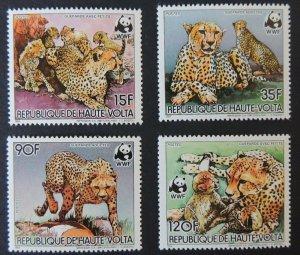 upper volta 1984 WWF cheetahs 4 values mnh animals big cats mammals