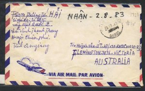 1983 airmail cover to Australia with 5d Koch  x 4 on reverse MS455