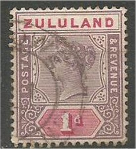 ZULULAND, 1894, used 1p  Queen Victoria. Scott 16