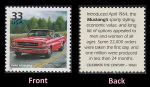 US 3188h Celebrate the Century 1960s Ford Mustang 33c single MNH 1999