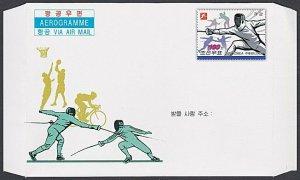 KOREA (Nth) Aerogramme 2009 Fencing, Cycling, Basketball....................J604