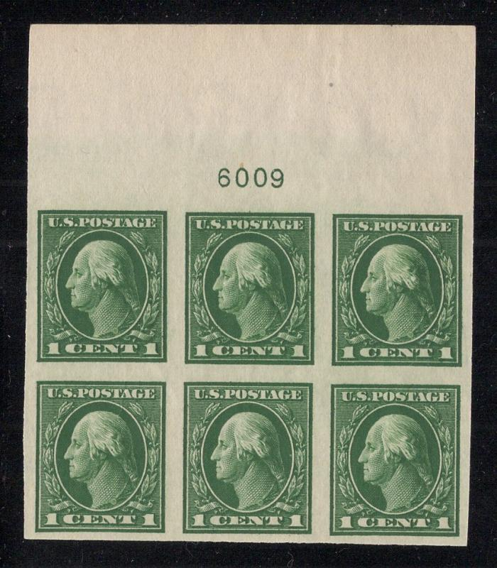 US#408 Green - Top Plate# Block of 6 - O.G. - N.H.