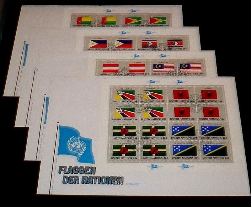 U.N. 1982, FLAG SERIES FULL SHEETS/16 ON 4 OVER SIZED COVERS, FDC NICE! LQQK!