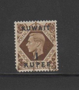 KUWAIT #79  1948 1r on 1sh  KING GEORGE VI SURCHARGED MINT  VF NH  O.G  aa