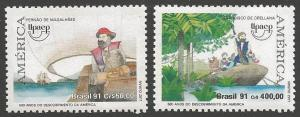 BRAZIL SG2498/9 1991 AMERICA VOYAGES OF DISCOVERY MNH
