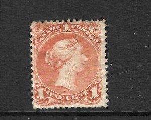 CANADA 1868-76  1c DEEP ORANGE QV MNH  Sc 23a  Sg 56