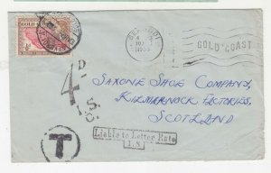 GOLD COAST, 1955 cover QE 1/2d., SEKONDI A to Scotland, LIABLE TO LETTER RATE