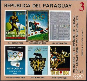 1972 Paraguay History of the Olympic Games, Munich, Sheet VF/MNH! CAT 23$