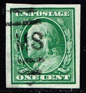 US STAMP #383 Series of 1910-11 1¢ Franklin Imperforate USED SUPERB