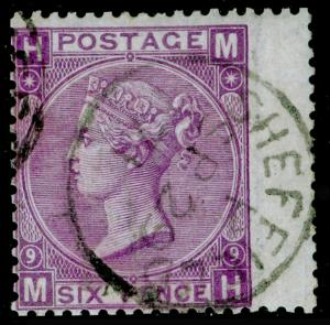SG109, 6d mauve plate 9, FINE USED, CDS. Cat £90. MH