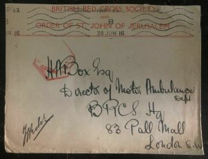 1940s Jerusalem Palestine British Red Cross Cover To London England