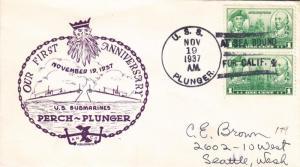 USS Plunger SS-179, 1st Anniversary, Nov 19, 1937 (N5176)