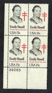 1823 Emily Bissell MNH Plate Block LL