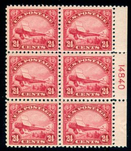MOMEN: US STAMPS #C6 PLATE BLOCK MINT OG 4NH/2H LOT #70120