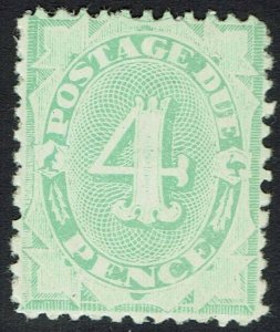 AUSTRALIA 1906 POSTAGE DUE 4D WMK CROWN/SINGLE LINE A COMPOUND PERF 11.5,12 & 11