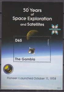 2008 Gambia 5965/B768 50 years of the launch of the Pioneer I satellite