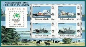 Solomon Islands 1988 Australia Bicentenary, Sydpex, MS MNH #621a,SGMS630