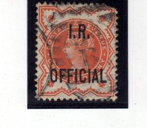 "Queen Victoria 1887 half penny vermilon sg197 used ""I R"" overprint"