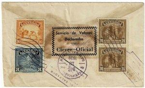Salvador 1939 San San Salvador cancel on cover, Value Declared label reverse