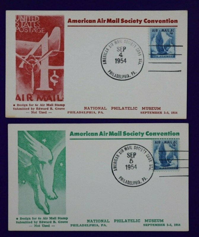 American AirMail Society Convention Philadelphia PA 1954 Philatelic Expo card