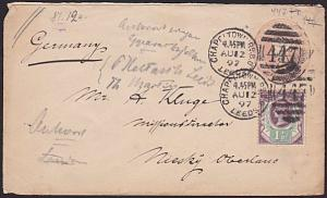 GB 1897 QV 1½d on 1d envelope CHAPELTOWN RD BO LEEDS, to Germany............6877