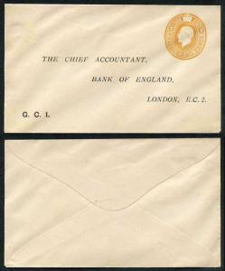 ES45 KGV 2d Orange Stamped to Order Envelope Bank of England Mint