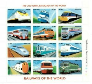 Sierra Leone MNH S/S Colorful Railways Trains 12 Stamps