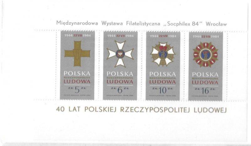 1984   POLAND  -  SG.  MS 2945  -  40th ANNIVERSARY OF REPUBLIC   -  MNH
