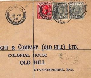 NIGERIA Cover *Ubiaja* Registered Sapele Benin City GB Old Hill Staffs 1926 AM70