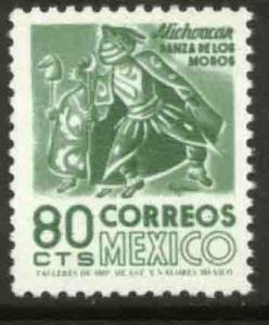 MEXICO 1094, 80c 1950 Defin 9th Issue Unwmkd Fosfo Coated. MINT, NH. VF.