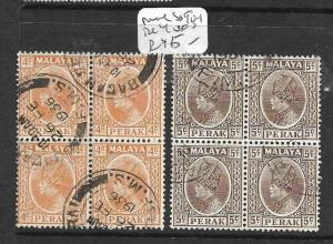 MALAYA PERAK (P1401B) SULTAN 14C, 5C SG 90-1 BL OF 4  VFU
