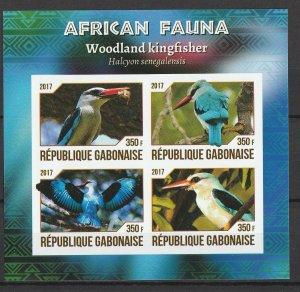 Gabon MNH S/S African Woodland Kingfisher Bird