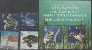 Bermuda 2018 turtles 4v+s/s MNH