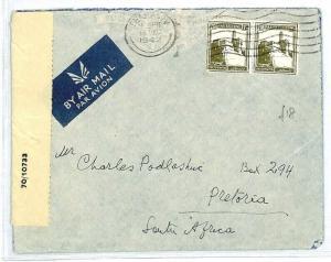 PALESTINE Tel Aviv SOUTH AFRICA Pretoria CENSOR 1942 WW2 {samwells-covers} CW243