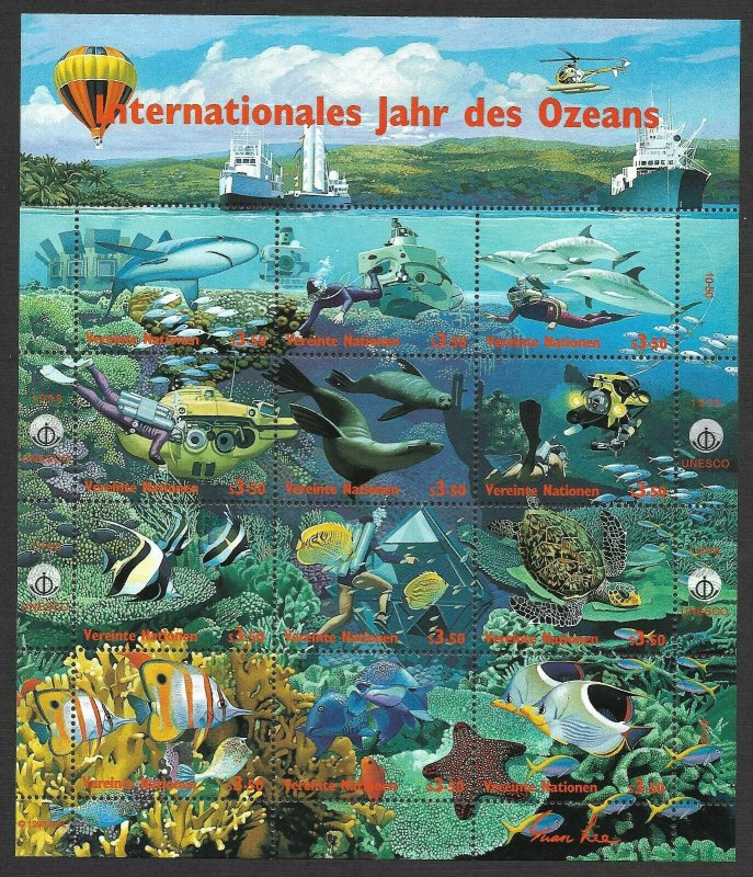 Doyle's_Stamps: 1998 U.N. Year of the Ocean 3-Sheet Set