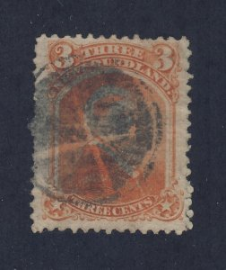 Newfoundland  Stamp #33-3c Orange Used Fine+  Guide Value = $125.00