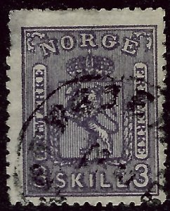 Norway 1868 Sc #13 Used Fine clipped perfs Cat $160...Great Value!