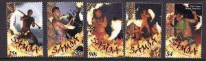 Samoa-Sc#991-5-Unused NH set-Various Dancers-2001-