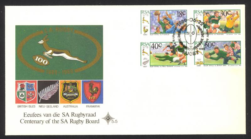 South Africa Sc# 770-773 FDC combination 1989 Rugby Teams
