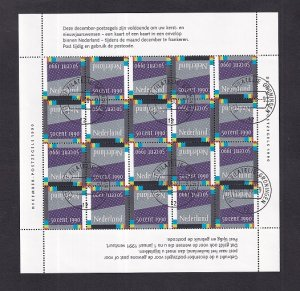 Netherlands  #765   1990  cancelled  Christmas sheet with 20 stamps