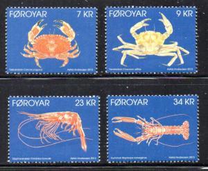 Faroe Islands Sc 595-8 2013 Crustaceans stamp set mint NH