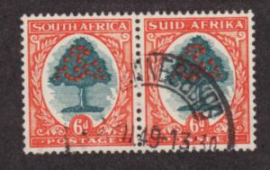 South Africa Sc 25 used 1926 6p orange tree, bilingual pair, VF